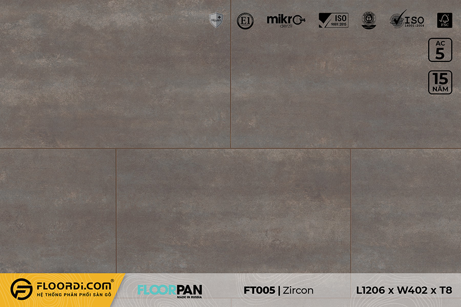 Sàn gỗ vân đá FT005 Stone Zircon – 8mm – AC5
